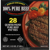 Philly-Gourmet Patties, Pure Beef, Quarter Pound