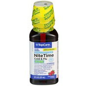 TopCare Maximum Strength Nite Time Cold & Flu Severe Pain Reliever - Fever Reducer, Cough Suppressant, Antihistamine, Nasal Decongestant Mixed Berry Flavor