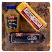 Dietz & Watson Dietz & Watson Charcuterie Board, Colby Jack Cheese/Honey Mustard/Beef Summer Sausage, Shrink Wrapped