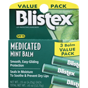 Blistex Lip Protectant/Sunscreen, Medicated, Mint Balm, SPF 15, 3 Balm Value Pack