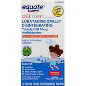 Equate Antihistamine, Original, 10 mg, Indoor & Outdoor Allergies, Children's, Disintegrating Tablets