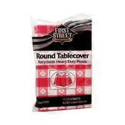 First Street Atlantis Red Gingham Round Table Cover 84