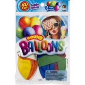 Ja-Ru Inc. Balloons, Round, Jumbo, 12 Inch, 12 Pack