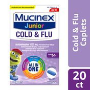 Mucinex® Cold and Flu, Junior Cold and Flu Caplets, Ages 6+ years, All-in-One