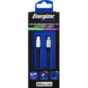 Energizer Cable, Type-C to Lightning, Nylon Braided
