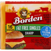 Borden Cheese Product, Pasteurized Prepared, Sharp, Fat Free Singles