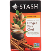 Stash Tea Herbal Tea, Ginger Fire Chai, Tea Bags