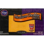 Kroger Cheese, Natural, Medium Cheddar