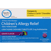 Signature Care Allergy Relief, Children's, 5 mg, Chewable Tablets, Grape