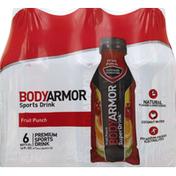 BODYARMOR Sports Drink, Premium, Fruit Punch, 6 Packs