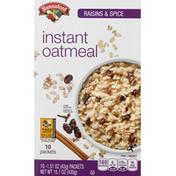 Hannaford Oatmeal, Instant, Raisins & Spice