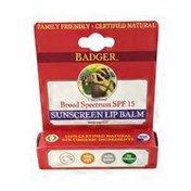 Badger Lip Balm, Sunscreen, Broad Spectrum SPF 15, Unscented