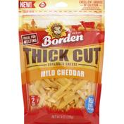 Borden Cheese, Shredded, Mild Cheddar, Thick Cut