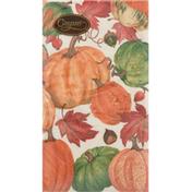 Caspari Napkins, Pumpkin Field, White, Triple-Ply