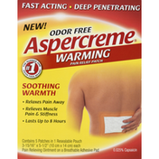 Aspercreme Pain Relief Patch, Warming, Odor Free