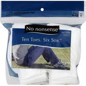 No nonsense Socks, Men's Quarter Top, Cushioned, Shoe Size 6-12, White