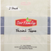 Our Family Facial Tissue, 2 Ply, 3 Pack