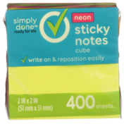 Simply Done Sticky Notes Cube, Neon
