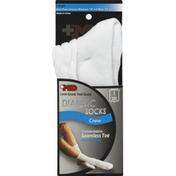 +md Socks, Diabetic, Crew, White, Large, Unisex