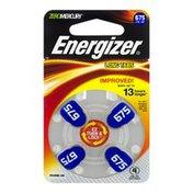 Energizer Zinc Air Batteries 675 Long Tab Hearing Aid - 4 CT