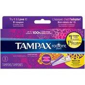 Tampax Radiant Plastic Regular Unscented Tampons