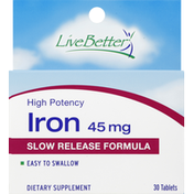 Live Better Iron, High Potency, 45 mg, Tablets