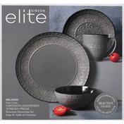 Gibson Elite Dinnerware Set, Stoneware, Milanto, Grey
