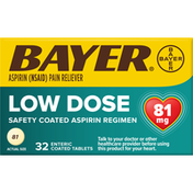 Bayer Pain Reliever, Low Dose, 81 mg, Tablets