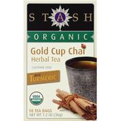 Stash Tea Herbal Tea, Organic, Gold Cup Chai, Caffeine Free, Bags