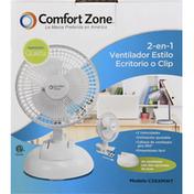 Comfort Zone Fan, 2-in-1, Clip-On or Desk Style