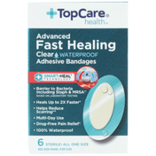 TopCare Sterile Advanced Fast Healing Waterproof First Aid Antiseptic All One Size Adhesive Bandages, Clear