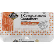 First Street Containers with Hinged Lids, 3 Compartment, Clear Plastic, Medium