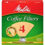 Melitta Super Premium #4 Natural Brown Paper Melitta Super Premium Size #4 Natural Brown Cone Coffee Filters