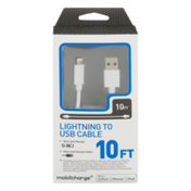 Mobilcharge Lightning to USB Sync and Charge Cable 10 FT
