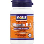 Now Vitamin D-3, High Potency, 2000 IU, Softgels