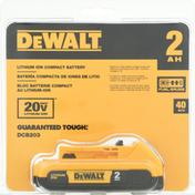 Dewalt Compact Battery, Lithium Ion, 2 AH