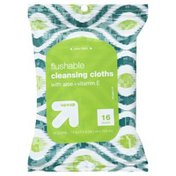 Up&Up Cleansing Cloths, Flushable, with Aloe + Vitamin E
