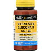 Mason Natural Magnesium Gluconate, 550 mg, Tablets