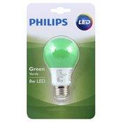 Philips Light Bulb, LED, Green, 8 Watts