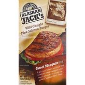 Alaskan Jack's Salmon Burgers, Wild Caught Pink, Sweet Mesquite Rub