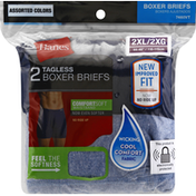 Hanes Boxer Briefs, Tagless, Assorted Colors, 2 Extra Large