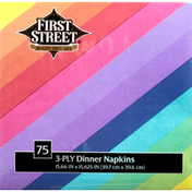 First Street Napkins, Dinner, Rainbow, 3-Ply