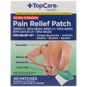 TopCare Extra Strength Pain Relief Camphor 1.2%, Menthol 5.7%, Methyl Salicylate 6.3% Topical Analgesic Patches