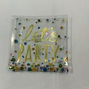 Demdaco Let's Party Glass Plate With Spreader Set