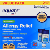 Equate Allergy Relief, Non-Drowsy, Original Prescription Strength, 10 mg, Tablets, Value Pack