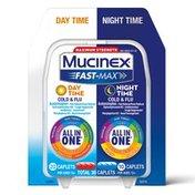 Mucinex® Fast-Max Day Time Cold & Flu/Night Time Cold & Flu Caplets. Maximum Strength