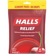 Halls Relief Cherry Cough Suppressant/Oral Anesthetic Menthol Drops