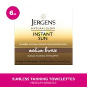 JERGENS Instant Sun Self Tanning Towelettes, Single Use Self Tanner Wipes, for Travel