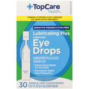 Top Care Sterile Lubricating Plus Lubricant Eye Drops Carboxymethylcellulose Sodium 0.5% Single-Use Containers