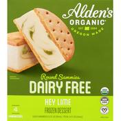 Alden's Organic Frozen Dessert, Dairy Free, Key Lime, Round Sammies